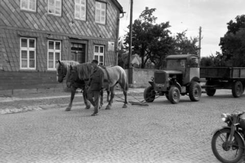 ARH NL Dierssen 0190/0013, Pferde schleppen Trecker ab, 1949