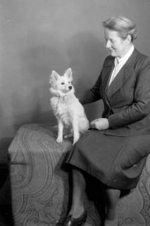 ARH NL Dierssen 0221/0021, Frau Schaper mit Spitz, 1949