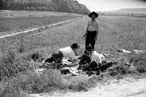 ARH NL Dierssen 1033/0013, Rastende Handwerksburschen an der Haller, 1950