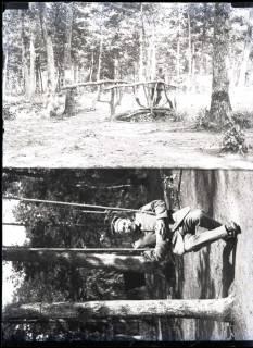 ARH NL Kageler 268, 1. Weltkrieg, August Kageler auf Brücke in einem Wald, Frankreich, zwischen 1914/1918