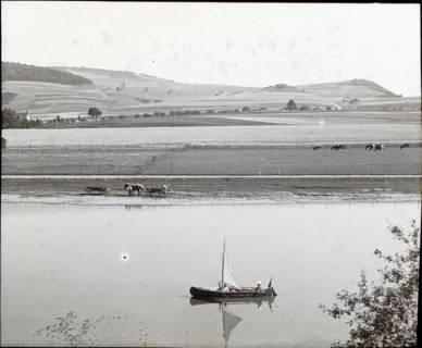 ARH NL Kageler 1349, Segelboot auf der Weser bei Steinmühle, Pegestorf, ohne Datum