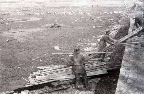 ARH NL Koberg 636, Entfernung von Tarnholz bei der Räumung des Maschsees zwecks Nutzung als dringend benötigtes Bauholz, Hannover, 1945