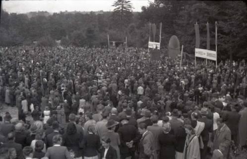 ARH NL Koberg 1036, Kurt Schumacher bei einer Kundgebung der SPD, anlässlich des Bezirksparteitages am 17./18. August, auf dem Gelände des heutigen Waldstadions, Barsinghausen, 1946