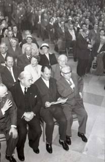 ARH NL Koberg 1074, Egon Franke, Hinrich Wilhelm Kopf, Willy Brandt und Erich Ollenhauer beim SPD Parteitag in der Stadthalle, Hannover, 1960