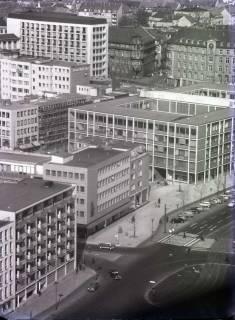 ARH NL Koberg 164, Blick vom Rathaus auf den Friedrichswall in Richtung Aegidientorplatz, Nord-LB, Kreissparkasse (früher Magdeburger Versicherung), Hannover, 1961