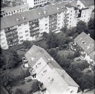 ARH NL Koberg 2482, Blick von der Kreuzkirche auf Wohngebiet, Hannover, 1962