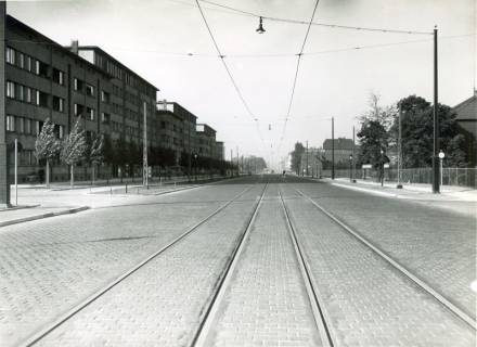 ARH NL Koberg 3018, Ausbau der Podbielskistraße mit elastischer Masse zwischen Schiene und Pflaster, Hannover, um 1932