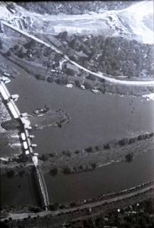 ARH NL Koberg 432, Schwanenburgkreisel und Brücke Westschnellweg im Bau, Hannover, 1957