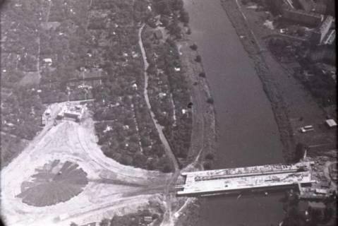 ARH NL Koberg 433, Schwanenburgkreisel und Brücke Westschnellweg im Bau, Hannover, 1957