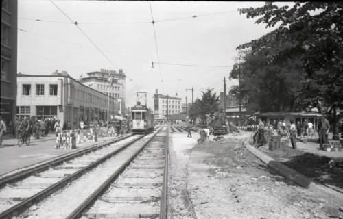 ARH NL Koberg 705, Reparatur der Straßenbahngleise am Kröpcke, Hannover, nach 1949