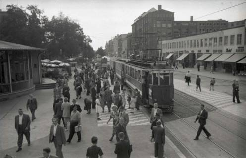 ARH NL Koberg 739, Straßenbahn Linie 11 am Kröpcke mit Blick in die Georgstraße, Hannover, nach 1948