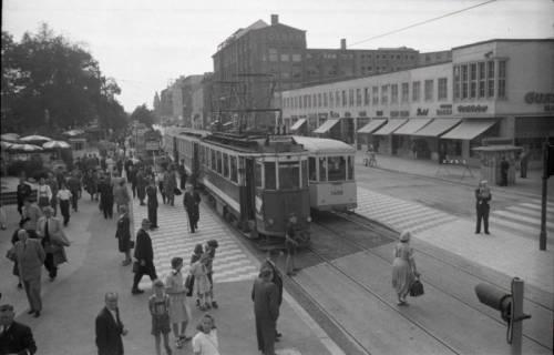 ARH NL Koberg 740, Straßenbahn Linie 11 am Kröpcke mit Blick in die Georgstraße, Hannover, nach 1948