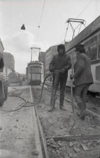 ARH NL Koberg 931, Straßenbahngleisarbeiten in der Georgstraße, Hannover, 1971