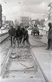 ARH NL Koberg 934, Straßenbahngleisarbeiten in der Georgstraße, Hannover, 1971