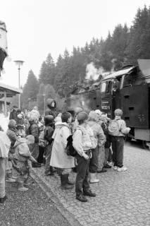 ARH NL Mellin 01-038/0010, Schülergruppe? vor Harzer Schmalspurbahn zum Brocken in Schierke, nach 1989