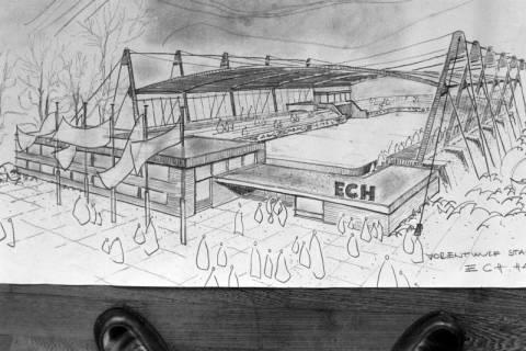 ARH NL Mellin 01-039/0004, Vorentwurf für das Eisstadion am Pferdeturm in Hannover, vor 1978