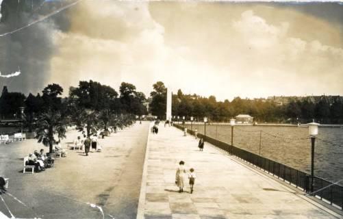 ARH Slg. Mütze 091, Promenade am Nordufer des Maschsees im Sommer, Hannover, um 1939