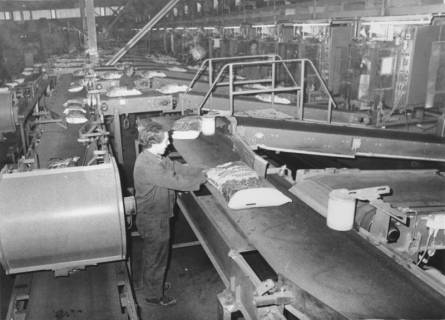 ARH Slg. Bartling 573, Firma ASB-Torfwerk Neustadt Helmut Aurenz GmbH, Moorstraße 2, Blick in die Produktionshalle, Abfüllung von Blumendünger, um 1970