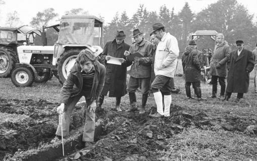ARH Slg. Bartling 658, Kreisleistungspflügen in Mecklenhorst, Vermessung der Furche unter den Augen der Schiedsrichter, im Hintergrund drei Trecker, um 1975