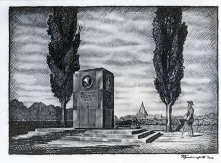 ARH Slg. Grabenhorst 24, Repro Zeichnung des Ehrenmals für die gefallenen des 1. Weltkrieges in Neustadt a. Rbge. von Karl Grabenhorst, 1922