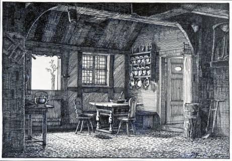 ARH Slg. Grabenhorst 29, Repro Zeichnung einer Bauernstube durch Karl Grabenhorst, 1920