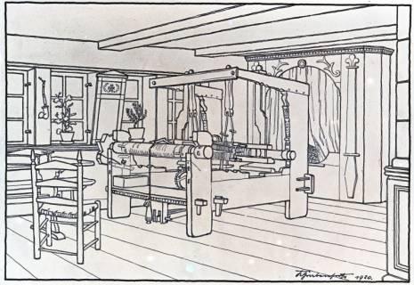 ARH Slg. Grabenhorst 31, Repro Zeichnung eines Webstuhls durch Karl Grabenhorst, 1920