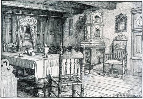 ARH Slg. Grabenhorst 31, Repro Zeichnung einer Bauernstube durch Karl Grabenhorst, 1920